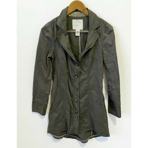 Free People Jacket Women's 6 Military Trench Olive Green Long Dress Y2K 90s